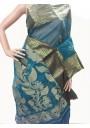 Handwoven Tangail Teal Saree