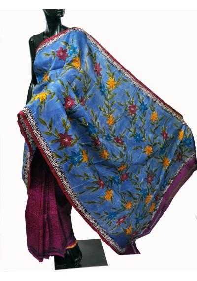 Silk half n half print saree