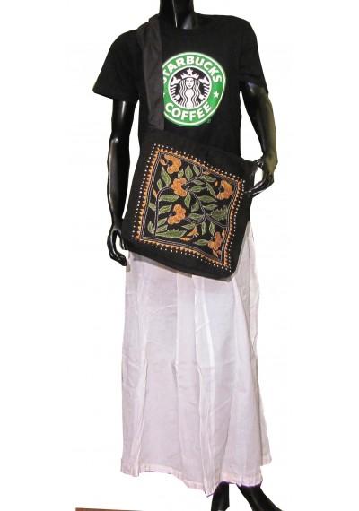 Black Kantha Crossbody Bag
